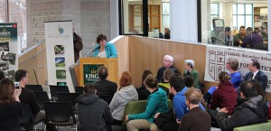 Michelle Hurtubise speaking at the LPRC Launch event. Photo from the Kings College Newsroom Website.